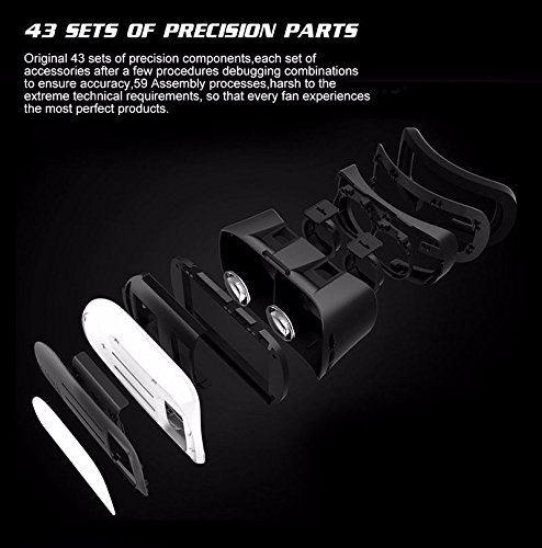 2nd Generation Hot Selling VR Headset Virtual Reality 3D Glasses Google Cardboard VR Box Adjustable 4.7~6 Inch Screen Phones iphone 4S, iphone 5s, IPhone 6 / 6 S , Samsung LG, Nokia Sony HTC, Nexus Oneplus Moto etc – Inspired by Google Cardboard, Oculus Rift and Samsung Gear 2016 With Bluetooth Remote (Black/ White)