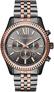 ساعة ليكسنغتون للرجال من مايكل كورس بمينا رمادي وعرض انالوج وسوار من الستانلس ستيل - MK8561