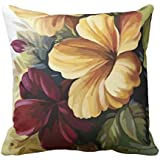 YaYa cafe Printed Hibiscus Floral Flower Throw Cushions Pillow Covers 16x16 inches for Home Decor Sofa Chair Bedroom Living Room