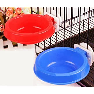 Namsan Pet Hanging Cage Bowl,pet Water/Food Bowl,Stainless Steel & Plastic Dog Bowls Easy to Install(Blue/Red) (Deep… 4