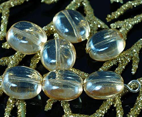 Lustre Jaune Clair tchèque en Verre Ovale et Plate de la Tablette en Forme de Perles de 10mm x 9mm x 5mm 14pcs
