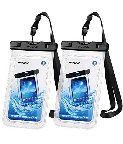 Mpow Wasserdichte Handyhülle 2 Stück, Handytasche Wasserdicht, Staubdichte Schutzhülle für iPhone X/XR/XS/XS MAX/8/7/6/6s/6splus/Galaxy S9/S8/S7/S7edge/S6/S bis 6,5 Zoll DOPPELT VERSIEGELT