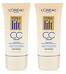 L0realParis LOreal Paris Visible Lift CC Cream, Light/Medium 1 oz (Pack of 2) + Curad Dazzle Bandages 25 Ct