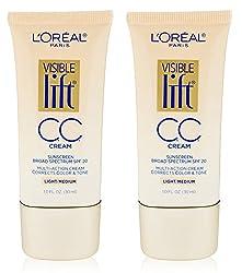 L0realParis LOreal Paris Visible Lift CC Cream, Light/Medium 1 oz (Pack of 2) + Curad Bandages 8 Ct
