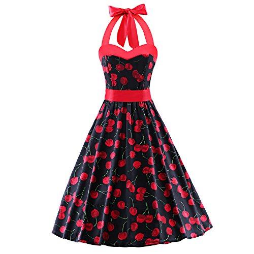 LUOUSE Vintage Damen Rockabilly 50er Polka Dots Kleid,BlackCherry,L