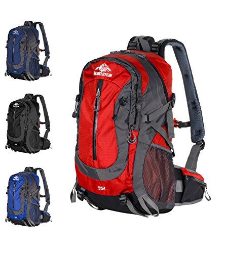 GEIGELSTEIN 35 Liter Bergsteiger Rucksack Inklusive Raincover, mit Gratis Bergsicherheits Guide als E-Book, für Berg-Sport, Trekking, Wandern, Mountain-Bike, Outdoor und Reise (Rot) (All-mountain-schlafsack)