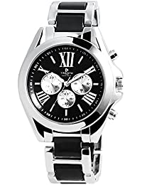 timento Analog Mujer reloj, metal, diámetro de 44mm, Plata Negro–510021000002