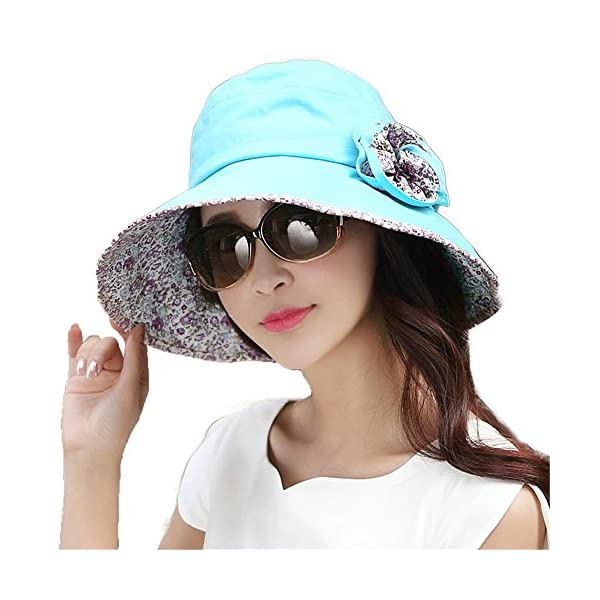 Siggi Ladies Bucket Summer Sun Hat Foldable Beach Cap Wide Brim UPF50+ Packable for Women 1