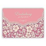 Wunderbare Vintage Einladungskarte mit Retro Kirschblüten Muster in rosa für Mädchen: Einladung zur Jugendweihe