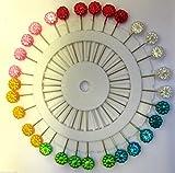 Extralange Stecknadeln mit Kopf Aus Kunststoff, Verschiedene Farben, Daisy