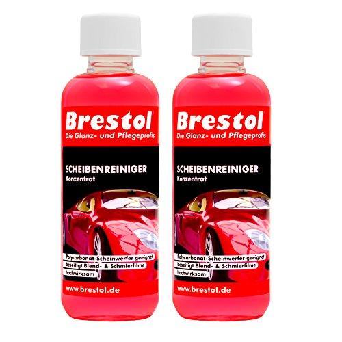 SCHEIBENREINIGER Konzentrat 2x 300 ml (ergibt 120 Liter gebrauchsfertig) mit angenehmen Frische Duft - Waschanlagenzusatz Klarsicht Klare Sicht Insekterentferner Auto - Brestol
