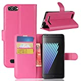 Casefirst Doogee X30 Case Luxury PU Leather Wallet Flip Protective Skin Case Cover with Card Slots and Stand for Doogee X30 Hot Pink