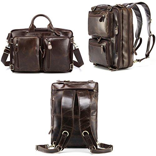 Imagen de baosha hb 22 vintage lienzo bolso de mano hombres del maletín  convertible bolsa de ordenador portátil  de viaje senderismo  cuero genuino marrón para laptop de 13~15.6 pulgadas