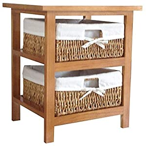 Home Discount Maize Storage Unit Brown, 2 Drawer Cabinet Baskets FREE DELIVERY