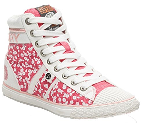 Superdry Herren Schnürhalbschuhe, Weiß - Pink and White Hammer High Sneaker - Größe: 36.5 (Heel Knee Boots Spike High)