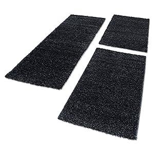 Shaggy Hochflor Teppich Carpet 3TLG Bettumrandung Läufer Set Schlafzimmer Flur, Farbe:Anthrazit, Bettset:2x60x110+1x80x150