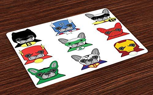 ABAKUHAUS Superheld Platzmatten, Bulldog Superhelden Spaß Cartoon Welpen in Disguise Kostüm Hunde mit Masken drucken, Tiscjdeco aus Farbfesten Stoff für das Esszimmer und Küch, ()