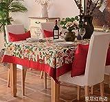100x 160cm rot floral Pferd Rustikal Instagram Esstisch Tuch Baumwolle Leinen Garten Picknick quadratisch, rechteckig Umweltfreundlich,