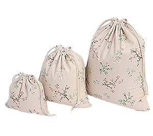 Msyou, confezione da 3sacchetti in cotone e lino con coulisse, per donne, ragazze, per contenere oggetti vari, per la scuola, la casa, i viaggi, idea regalo, con motivo con gufo S/M/L Flower Branch