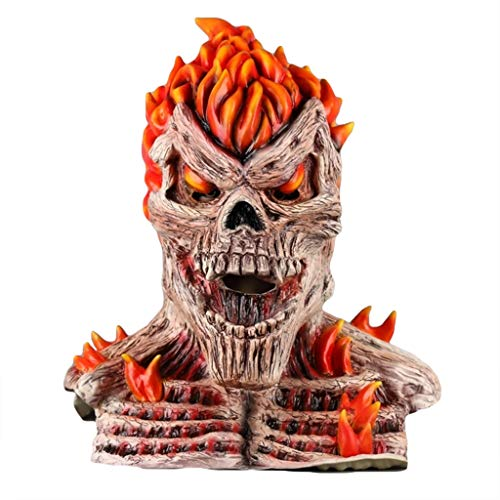 QWEASZER Flame Devil Schädel Maske Helm Halloween Cosplay Party Flame Ghost Rider Maske Kopfbedeckung Performance Requisiten,A-OneSize