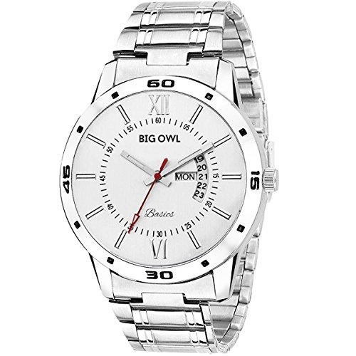 BigOwl White Dial Day and Date Analogue Boys and Men Wrist Watch