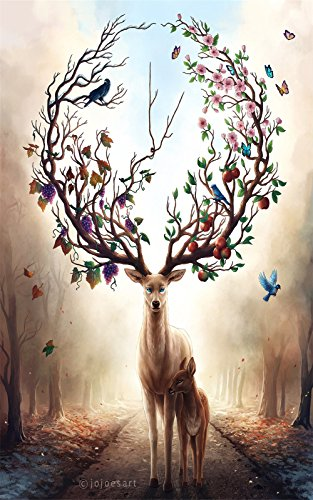 Yobooom Jigsaw Puzzle Holz Puzzle 1000 Teile Mutter und Kind Hirsch Deer Art Erwachsene (Erwachsene Für Puzzles)