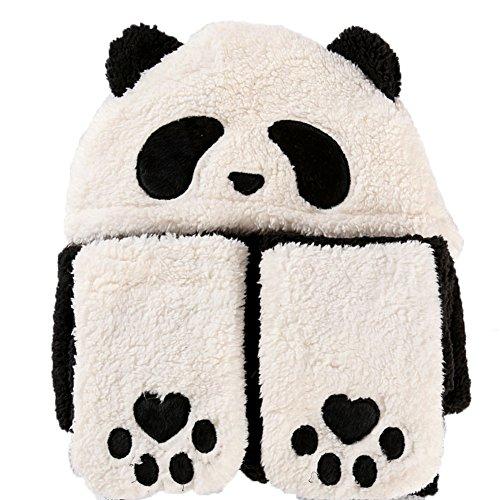 GTKC panda Bär lange hats Kapuze Schal Plüsch Hut mit Ohrenklappen Adults Schwarz and (Hoodie Mit Panda Ohren)