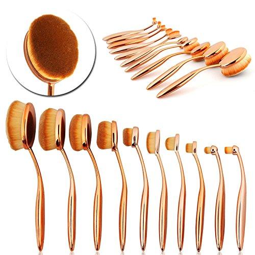 cynnig® Brosse à dents forme ovale Maquillage Brosse Fond De Teint Poudre sourcils Pinceaux de Maquillage Beauté Outils or 10/Lot coque + Boîte