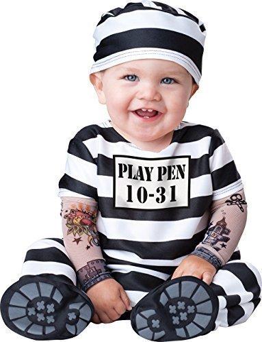 Deluxe Baby Jungen Mädchen Time Out Sträfling Gefangener Charakter Halloween Kostüm Kleid Outfit - Schwarz/weiß, Schwarz/weiß, 0-6 (Sträfling Kostüme Kind)