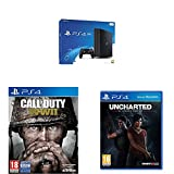 PlayStation 4 (PS4) - Consola De 500 GB, Color Negro + Voucher ¡Has Sido Tú! + FIFA 18 - Edición Estándar + Call Of Duty WWII + Uncharted: El Legado Perdido