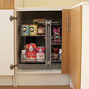 KuKoo LH Magic Corner Kitchen Pull Out Baskets, Slide Out 90-100cm Unit, 4 Metal Storage Drawers