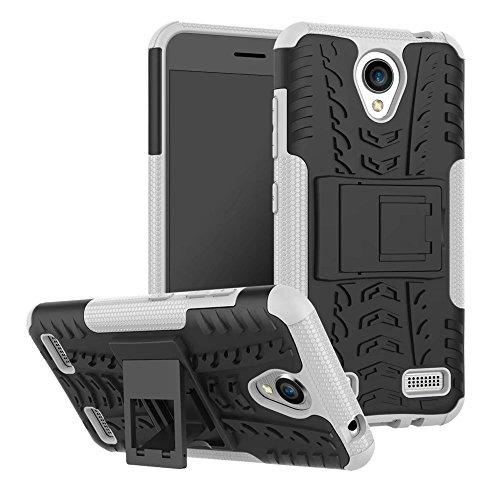 YHUISEN ZTE A520 Case, Hyun Pattern Dual Layer Hybrid Armor Kickstand 2 In 1 Shockproof Case Cover für ZTE Blade A520 ( Color : Black ) White