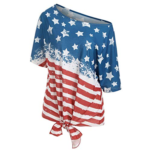 Cooljun Frauen Streifen Amerika Flagge gedruckt V-Ausschnitt Kurze Ärmel Knoten T-Shirt - Einzigartige Kostüm Zum Verkauf