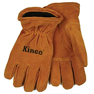 KINCO INTERNATIONAL Work Gloves, Suede, Fleece-Lined, Child's Ages 7-12