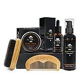 Kit de cuidado de la barba para el cuidado de los hombres,lavado con champú para barba, aceite para barba,cepillo de barba de cerdas de jabalí, peine para barba de madera,bigote y bálsamo para barba