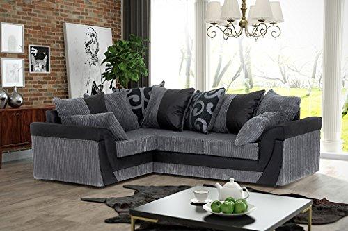 Divano angolare di lusso, colore nero e grigio, in finta pelle scamosciata e velluto a coste larghe moderno black