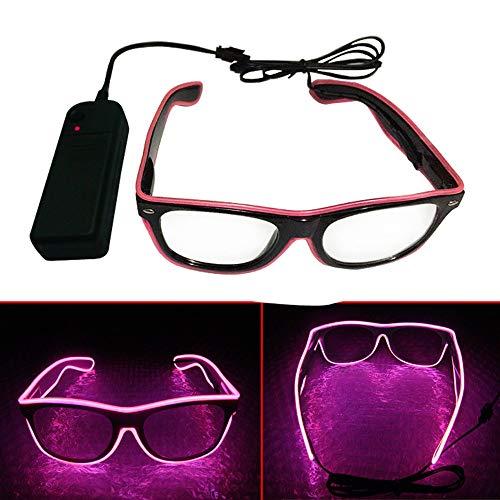 (El Wire LED Gläser, Spezielle Shutter Light Monochrom EL Draht Glow Shades Brillen Brillen W/Batterie Case Controller für Rave Kostüm Party DJ Musik Party Halloween Weihnachtsgeschenk Rosa)