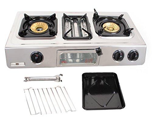 NJ GC-87–Placa de cocción a gas, con 2quemadores, parrilla y horno, superficie...
