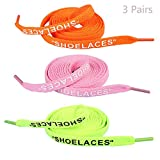 Jurxy 3 Paare 'Schnürsenkel' Text gedruckte flache Schnürsenkel Ersatzschnürsenkel für Sneakers Schnürsenkel Swap - 1,2 M - Orange Rosa Leuchtgrün