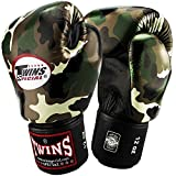 TWINS Boxhandschuhe, jungle green army, Muay Thai, leather boxing gloves, MMA