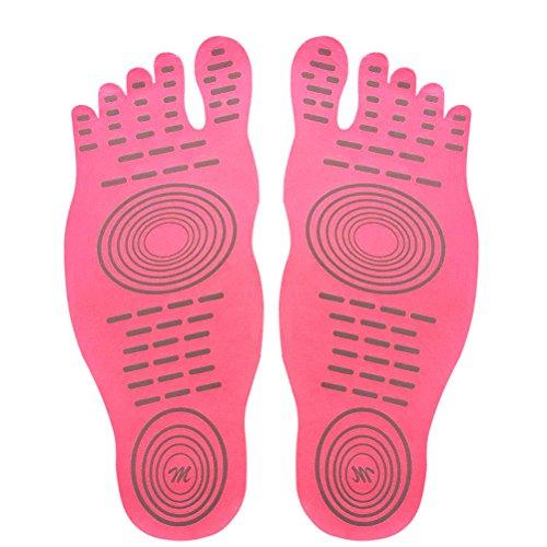 Calzini a piedi nudi per lesercizio di piscine per piscina, pattino dacqua, calzini antisdrucciolevoli di yoga, piedino adesivo adesivo per le donne, protezione elastica dei piedini flessibili Rosa (1 paio)