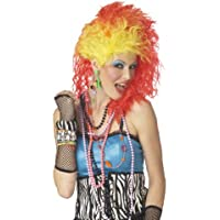 80's Cyndi True Colours funky wig - orange and yellow punky wig (peluca)