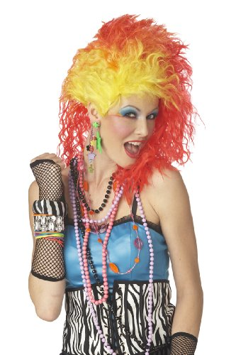 80's Cyndi True Colours funky wig - orange and yellow punky wig