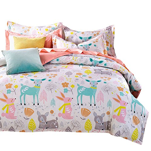 svetanya Cartoon Stil Tiere Bettbezug, bedruckt Set 400 TC, 100% WEICHE BAUMWOLLE STOFF bedlinens Twin Full Queen Size Betten Sets, baumwolle, multi, Queen -