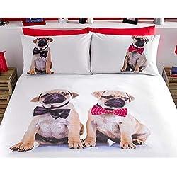 Cute & Cuddly Pug funda de edredón y funda de almohada juego de cama solo doble King size., multicolor, suelto