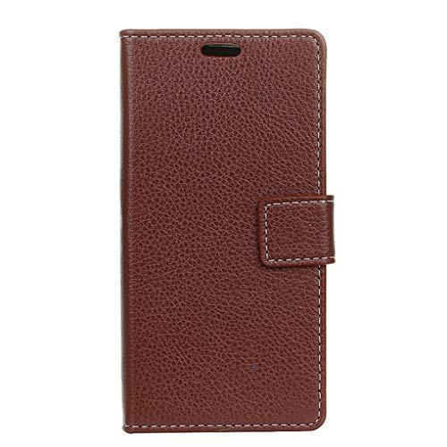 Für Wileyfox Spark X Hülle, Premium PU Leder Schutztasche Klappetui Brieftasche Handyhülle, Standfunktion Flip Wallet Case Cover - Braun