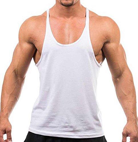 Preisvergleich Produktbild Herren Einfarbiges bodybuilding-Tanktop,  für Fitness / Muskeltraining Racerback-Rückseite Weiß weiß L