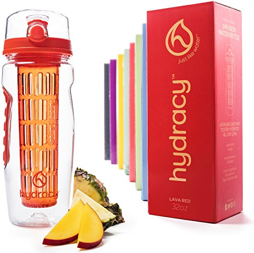 Hydracy Trinkflasche für Fruchtschorlen (1Liter) in verschiedenen Farben, mit langem Infuser und Isolierhülle - 100% dicht und perfekt für Sport & Freizeit - Lava Rot