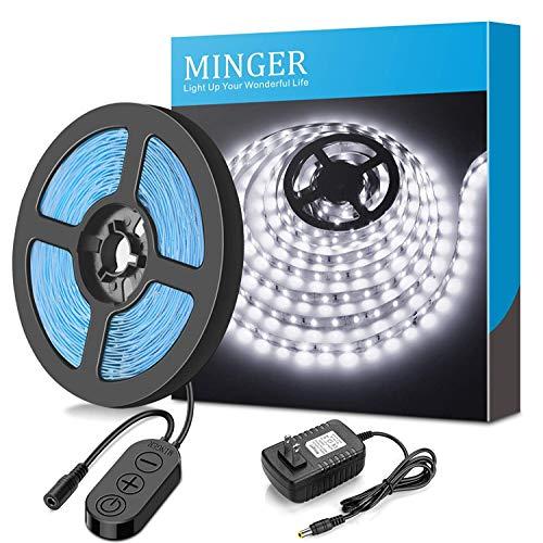 MINGER Dimmbarer LED Strip, LED Strip Kit, 6000K Tageslicht weiß, 300 SMD 2835 LEDs, 5m 12V nicht-wasserdichter LED-Streifen, Beleuchtung Streifen geeignet unter Kabinett für zu Hause, Stromadapter enthalten