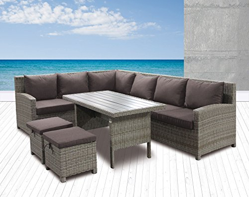 Wholesaler GmbH Polyrattan 6tlg Speiselounge Alba Gartenmöbel Set Lounge Eckbank Essecke Esstisch Sitzgruppe